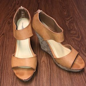 MAKE OFFERS!! Charming Charlie tan wedges